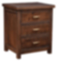Timbermill Nightstand with 3 Drawers | Three inset drawers. 1 1/2inch solid top with softened front edge, beaded trim on drawers, flat inset panel sides, antique brushed satin brass hardware. | Rustic Cherry in Kona FC-3030 | 25 1/4in W x 20 1/4in D x 30in H | The Amish Home | Amish Furniture at the Pittsburgh Mills