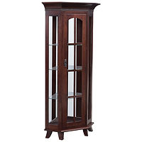 Bunker Hill Corner Deluxe Curio | 3 adjustable shelves with plate groove, mirror back, clear glass, LED touch light, black pull with lock, door hinged right | Brown Maple in Rich Tobacco OCS228 | 33in W x 22in D x 70in H, 23 1/2in wall space | The Amish Home | Amish Furniture at the Pittsburgh Mills