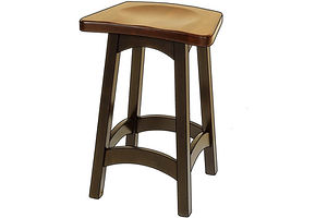 Illusion Stool|Brown Maple in Two-Tone | Shown with Wood Seat and Two-Tone Finish.|The Amish Home|Amish Furniture at the Pittsburgh Mills
