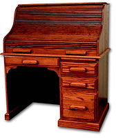 Country Home Standard Roll top Desk | Oak in Medium OCS110 | 43in W x 27in D x 47in H | The Amish Home | Amish Furniture at the Pittsburgh Mills