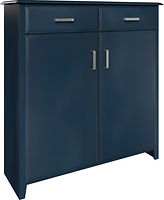 Baxter Pie Safe with two doors and two drawers | with two adjustable shelves | Brown Maple in Blue Paint | 48in W x 16in D x 51in H | The Amish Home | Amish Furniture at the Pittsburgh Mills