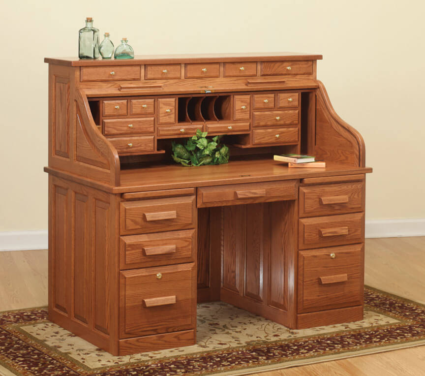 56in Traditional Roll Top Desk