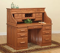 David's Traditional 56in Roll Top Desk with Drawers on Top | Oak in Michaels OCS113 | 56in W x 30in D x 51 1/2in H | The Amish Home | Amish Furniture at the Pittsburgh Mills