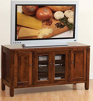 Antigo TV Stand|Brown Maple in Rich Tobacco OCS228|56in W x 20in D x 30in H|The Amish Home|Hardwood Furniture at the Pittsburgh Mills
