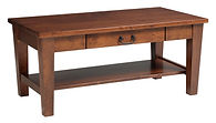 Urban Shaker Coffee Table with drawer | Shaker style with tapered tegs and square edges, bottom shelf, black hardware. | Brown Maple in Michaels OCS113 | 42in W x 22in D x 18in H | The Amish Home | Amish Furniture at the Pittsburgh Mills