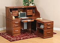 David's Traditional Computer 62in Roll Top Desk with Pull Out Return | Oak in Michaels OCS113 | 62in W x 30in D x 51 1/2in H | The Amish Home | Amish Furniture at the Pittsburgh Mills