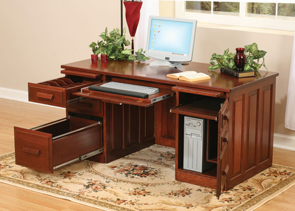 Glen Traditional Computer Desk in Cherry - Home Office Furniture