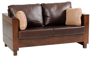 Urban Loveseat | Contemporary clean style with modern flush panels and block feet.  Reversible back & seat cushions, crisscross webbing on back & seat, fiber pad with bonded foam. Full back wood panel display. Fabric or leather, includes throw pillow. | Brown Maple in Rich Tobacco OCS228 | 64 1/2in W x 36 1/2in D x 34in H | The Amish Home | Amish Furniture at the Pittsburgh Mills