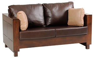 Urban Loveseat | Contemporary clean style with modern flush panels and block feet.  Reversible back & seat cushions, criosscross webbing on back & seat, fiber pad with bonded foam. Full back wood panel display. Fabric or leather, includes throw pillow. | Brown Maple in Rich Tobacco OCS228 | 64 1/2in W x 36 1/2in D x 34in H | The Amish Home | Amish Furniture at the Pittsburgh Mills