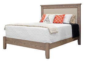 Kensington Fabric Panel Bed | Simple panel bed with flat crest and fabric panel. Continuous rail footboard. | Oak (Wire-Brushed) in Gray Pearl Finish | Headboard 64in H, footboard 16in H | The Amish Home | Amish Furniture at the Pittsburgh Mills