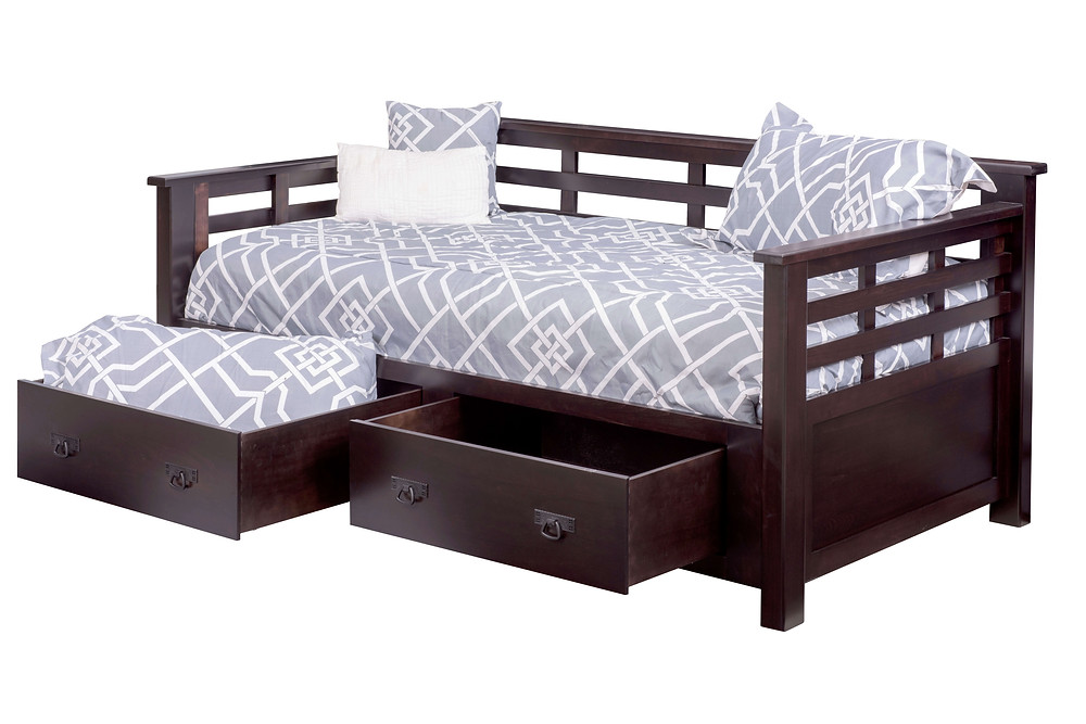 Addison Day Bed with underbed storage|Brown Maple in Onyx OCS230|83 1/2in W x 46 1/4in D x 37in H|The Amish Home|Amish Furniture at the Pittsburgh Mills