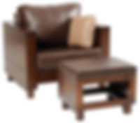 Urban Chair with Ottoman | Contemporary clean style with modern flush panels and block feet.  Reversible back & seat cushions, criosscross webbing on back & seat, fiber pad with bonded foam. Full back wood panel display. Fabric or leather, includes throw pillow. | Brown Maple in Rich Tobacco OCS228 | 38 1/2in W x 36 1/2in D x 34in H | The Amish Home | Amish Furniture at the Pittsburgh Mills