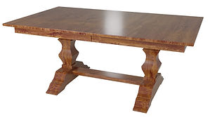 Jessica Trestle Table | Shown with rectangular top, eased edge. Available with butterfly leaf. | Rustic Cherry in Seely OCS104 | Many Sizes Available | The Amish Home | Amish Furniture at the Pittsburgh Mills