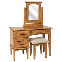 Shaker Jewelry Dressing Table | Oak in Fruitwood OCS102 | 42in W x 17 1/2in D x 30 1/2in H | The Amish Home | Amish Furniture at the Pittsburgh Mills