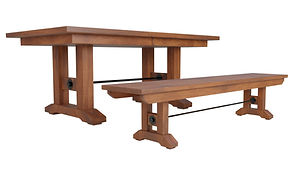 Taylor Trestle Table | Shown with rectangular top, eased edge. Available with butterfly leaf. | Rustic Cherry in Natural OCS100 | Many Sizes Available | The Amish Home | Amish Furniture at the Pittsburgh Mills