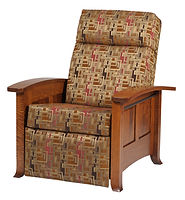 Cranberry Recliner | Curved leg style with black painted rope molding. Push back recliner, comfortable seating, large foot rest, tapered arm rest, wood panel sides. Available in fabric or leather. | Rustic Quartersawn White Oak in Michaels OCS113 | 33in W x 37 1/4in D x 41 1/2in H | The Amish Home | Amish Furniture at the Pittsburgh Mills