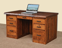 David's 56in Mission Flat Top Desk with Live Edge | Rustic Cherry in Michaels OCS113 | 56in W x 30in D x 30in H | The Amish Home | Amish Furniture at the Pittsburgh Mills