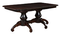 Woodstock Double Pedestal Table | Shown with square round top, waterfall edge. Butterfly leaf available. | Brown Maple in Asbury OCS117 | Many Sizes Available | The Amish Home | Amish Furniture at the Pittsburgh Mills