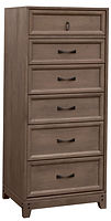 Glendale Lingerie Chest | Six drawers. Inset drawer design with recessed panel.  | Rustic Quartersawn White Oak in Barnwood SP-10 | 20in W x 19in D x 54in H | The Amish Home | Amish Furniture at the Pittsburgh Mills
