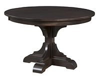 Clifford Single Pedestal Table | Shown with round top, eased edge. Available with butterfly leaf. | Brown Maple in Onyx OCS230 | Many Sizes Available | The Amish Home | Amish Furniture at the Pittsburgh Mills