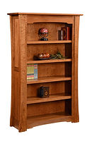 Jamestown Bookcase|Quartersawn White Oak in Michaels OCS113|42in W x 13in D x 72 1/2in H|The Amish Home|Amish Furniture at the Pittsburgh Mills