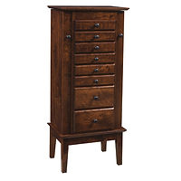 Winged Mill Shaker Jewelry Armoire | 8 drawers, 1 with ring bar, 1 with bracelet holder, 2 with wooden dividers, 4 with velvet bottom, side wings with 8 jewelry hooks each. Full extension drawer slides. Optional Hidden Drawer Available | Rustic Cherry in Asbury OCS117 | 18 1/2in W x 13in D x 48in H | The Amish Home | Amish Furniture at the Pittsburgh Mills