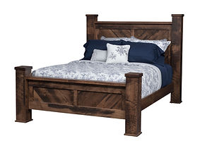 Denali Deluxe Bed | Square corner posts reminiscent of heavy timber beams, with chevron wood plank panels. | Brown Maple (Circular Sawn) in Almond FC-4200 | Headboard 64 1/4in H, footboard 28 /2in H | The Amish Home | Amish Furniture at the Pittsburgh Mills