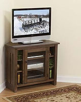 Canted Mission Corner TV Stand|Oak in Michaels OCS113|36in W x 20in D x 30in H, 25 1/2in wall space|The Amish Home|Hardwood Furniture at the Pittsburgh Mills