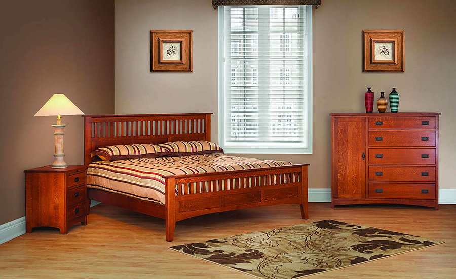 Empire Mission Bedroom Furniture Collection|Empire Mission Antique Mission Bed, 3 Drawer Nightstand, Man's chest|Solid Quartersawn White Oak in Michaels OCS113|The Amish Home|Amish Furniture at the Pittsburgh Mills