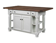 Jefferson City Turned Leg Kitchen Island | 2 Doors, 3 Drawers, 2 Open Shelves, 1 Adj. Shelf. Shown with rough sawn top with breadboard ends. | Brown Maple in White Paint | 49in W x 24 1/2in D x 34 1/2in H | The Amish Home | Amish Furniture at the Pittsburgh Mills