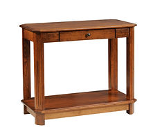 Franchi Sofa Table | Fluted beveled leg styling.  One flush inset drawer, open bottom shelf. | Rustic Cherry in Boston OCS111 | 36in W x 18in D x 30in H | The Amish Home | Amish Furniture at the Pittsburgh Mills