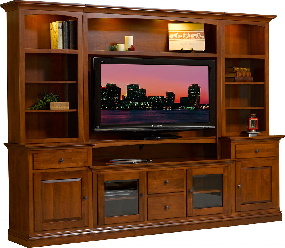 The Kent Entertainment Wall is shown in brown maple