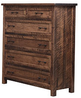 Denali Six-Drawer Chest | Four wide inset drawers, two narrow inset top drawers, with flat panel fronts. | Brown Maple (Circular Sawn) in Almond FC-4200 | 40 1/2in W x 19in D x 54in H | The Amish Home | Amish Furniture at the Pittsburgh Mills