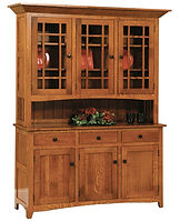 Raleigh 3 Door Hutch | Quartersawn White Oak in Michaels OCS113 | 66 1/2in W x 19 1/4in D x 83in H | The Amish Home | Amish Furniture at the Pittsburgh Mills
