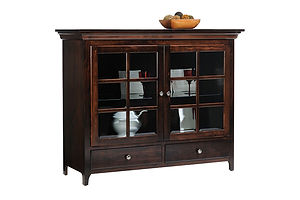 Lexington Shaker China Pantry|Brown Maple in Coffee OCS226|53in W x 20in D x 43in H|The Amish Home|Amish Furniture at the Pittsburgh Mills