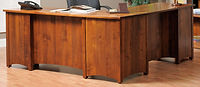 Rivertowne L-Desk shown from back | Brown Maple in Michaels OCS113 | 75in W x 71 3/4in D x 30 3/4in H | The Amish Home | Amish Furniture at the Pittsburgh Mills