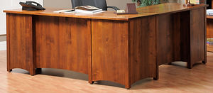 Rivertowne L-Desk|Brown Maple in Michaels OCS113|75in W x 71 3/4in D x 30 3/4in H|The Amish Home|Amish Furniture at the Pittsburgh Mills