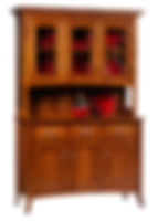 English Shaker 3 Door Hutch|Quartersawn White Oak in Michaels OCS113|54in W x 20in D x 81in H|The Amish Home|Amish Furniture at the Pittsburgh Mills