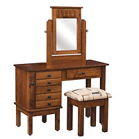 Mission Creek Jewelry Dressing Table | 6 drawers, 1 with ring bar, 2 with wooden dividers, 3 with velvet bottom. Pull-out wing with 7 jewelry hooks. Full extension drawer slides. Optional hidden drawer available. | Quartersawn White Oak in Asbury OCS117 | 42in W x 17 1/2in D x 30 1/2in H | The Amish Home | Amish Furniture at the Pittsburgh Mills
