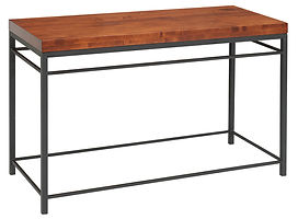 Cameron Industrial Style Sofa Table with metal base|Metal Base & Brown Maple in Michaels OCS113|48in W x 20in D x 29in H|The Amish Home|Amish Furniture at the Pittsburgh Mills