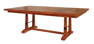 Carla Elizabeth Trestle Table | Shown with rectangular top, eased edge. Available with butterfly leaf. | Rustic Cherry in Seely OCS104 | Many Sizes Available | The Amish Home | Amish Furniture at the Pittsburgh Mills