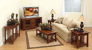 Aspen Living Room Furniture Collection|TV Stand, Coffee Table, End Tables, Sofa Table|Solid Rustic Cherry in Michaels OCS113|The Amish Home|Amish Furniture at the Pittsburgh Mills