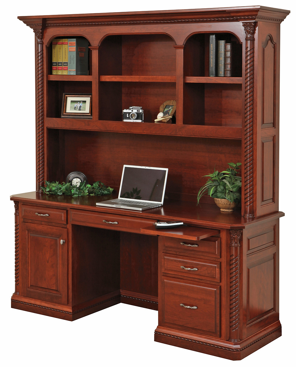 Concord Desk with Hutch in Cherry - Home Office Furniture