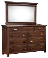Timbermill Tall Dresser with Optional Mirror | Nine drawer dresser. Six wide inset drawers, three narrow top drawers. 1 1/2inch solid top with softened front edge, beaded trim on drawers, flat inset panel sides, antique brushed satin brass hardware. | Rustic Cherry in Kona FC-3030 | 66in W x 20 1/4in D x 42 1/2in H | The Amish Home | Amish Furniture at the Pittsburgh Mills
