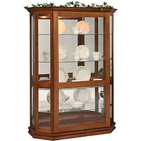 Angled Picture Frame Curio with Sliding Door | 4 adjustable shelves with plate groove, mirror back, clear glass, LED touch light, door slides left | Quartersawn White Oak in Michaels OCS113 | 53in W x 21in D x 72in H | The Amish Home | Amish Furniture at the Pittsburgh Mills