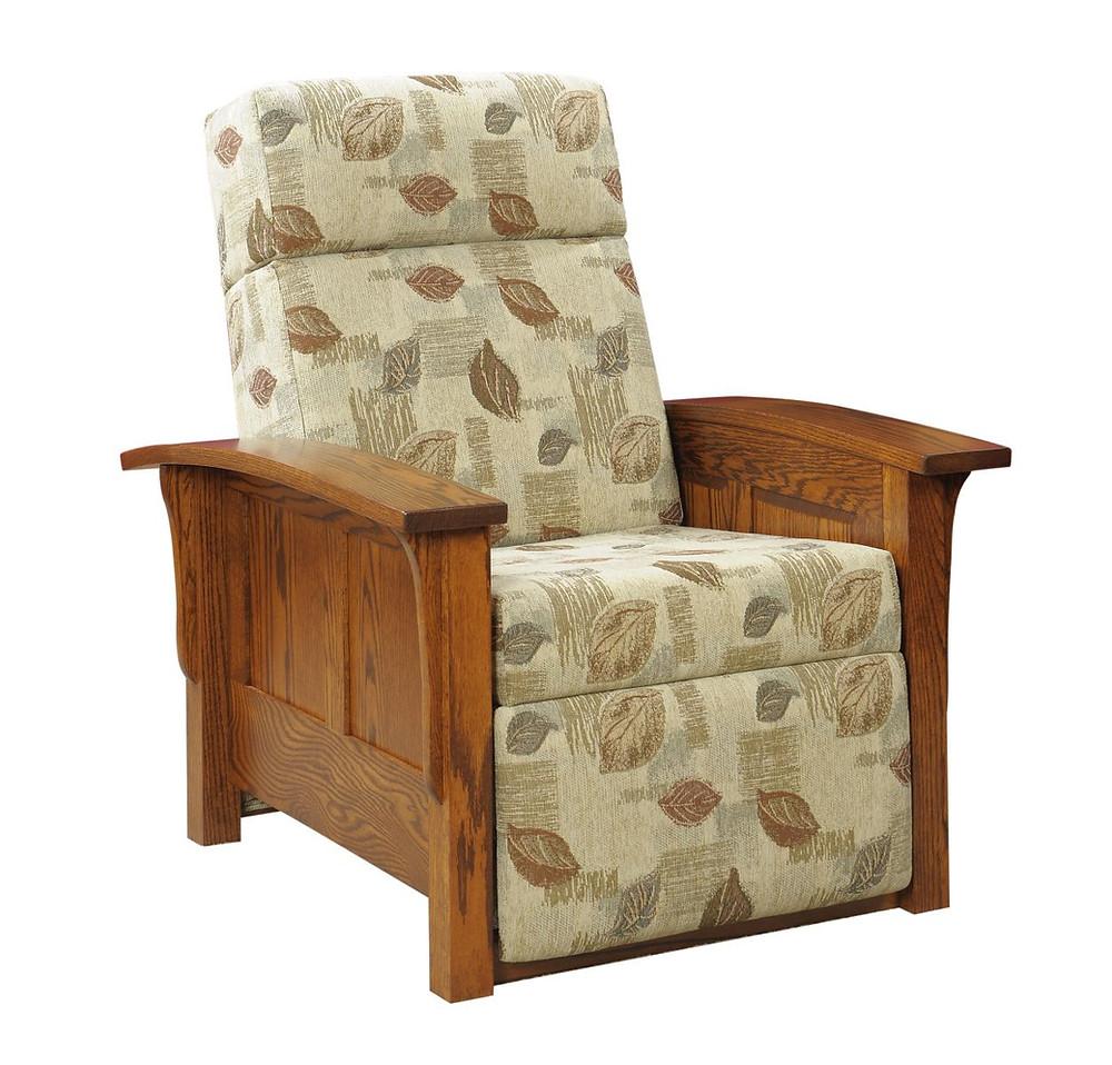 Panel side wallhugger recliner in oak
