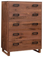 Odessa Chest of Drawers|Rustic Walnut in Natural OCS100|36in W x 19 1/2in D x 54in H|The Amish Home|Amish Furniture at the Pittsburgh Mills