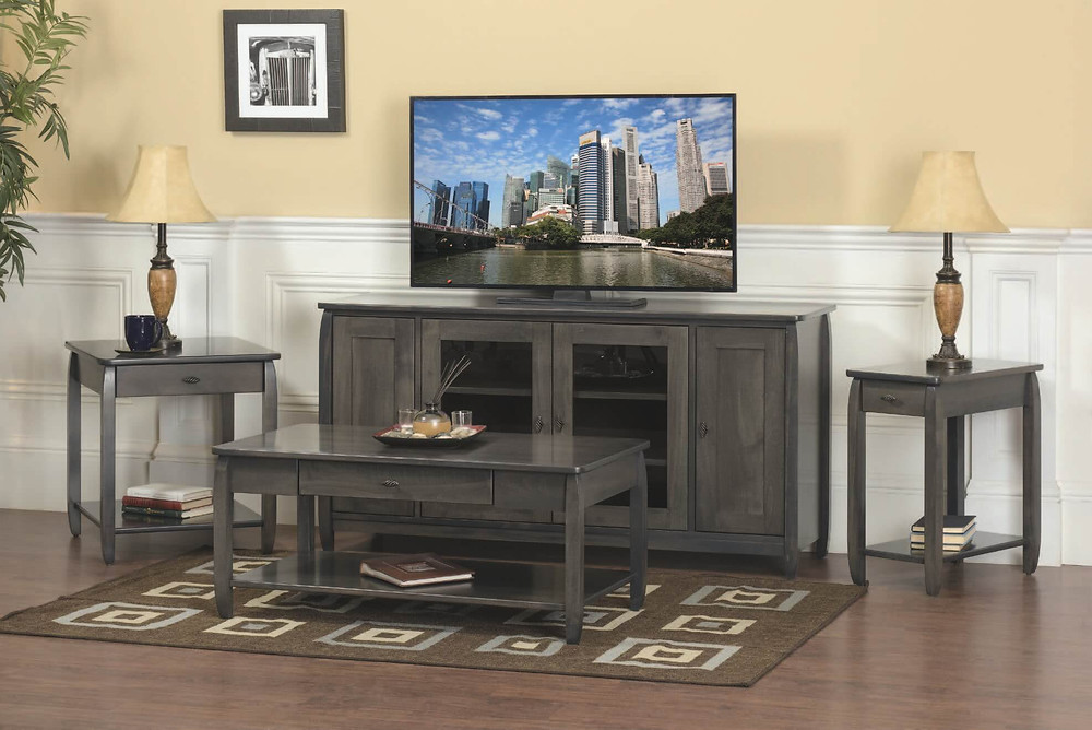 Apache Living Room Furniture Collection|TV Stand, Coffee Table, End Table, Chairside Table|Solid Brown Maple in Antique Salte OCS118|The Amish Home|Amish Furniture at the Pittsburgh Mills