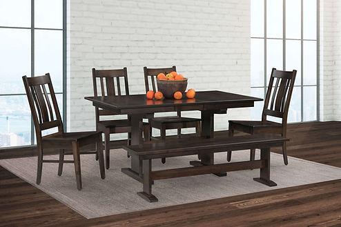 Millcreek Trestle Table with Mason Chairs and Millcreek Trestle Bench