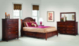 Duchess Bedroom Furniture Collection|Duchess Panel Queen Storage Bed, Tall Dresser and Mirror, 2 Drawer Nightstand, Chest of Drawers|Solid Rustic Cherry in Asbury OCS117|The Amish Home|Amish Furniture at the Pittsburgh Mills